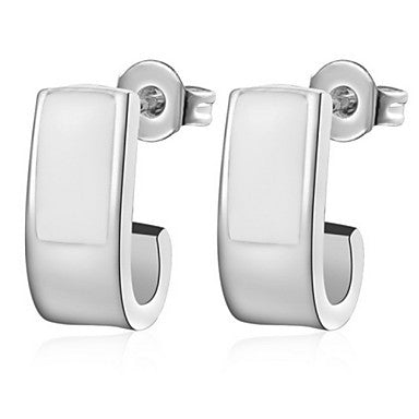 Gifr for Boyfriend High Quality Silver Plated White Whistle Men's Stud Earrings(1 pr)