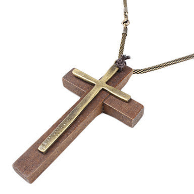 Pious Double Cross Necklace(wooden)