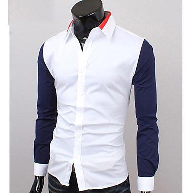 Men's Neck Opening Contrast Color Casual Long Sleeve Shirt
