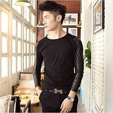 Men's Round Casual Long Sleeve T-shirts