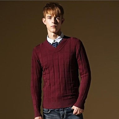 Men's New V-neck Fashion Kintted Plaid Slim Fit Casual Knitwear Sweater