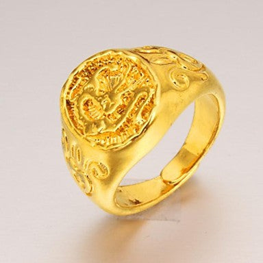 Fashion Exquisite Chinese Dragon Men 24 K Gold Ring