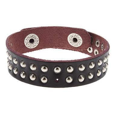 Black Double Layer Rivet Leather Bracelet