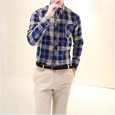 Men's 2015 Spring Cotton Plaid Loose Casual Long Sleeve Shirt