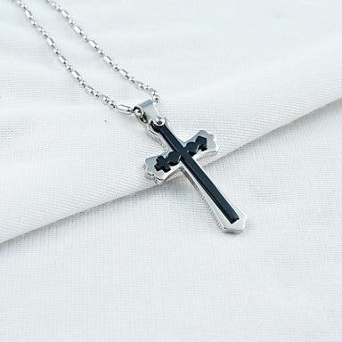 Fashion Men's Titanium Steel Male and Female Symbol Cross Pendant Necklace