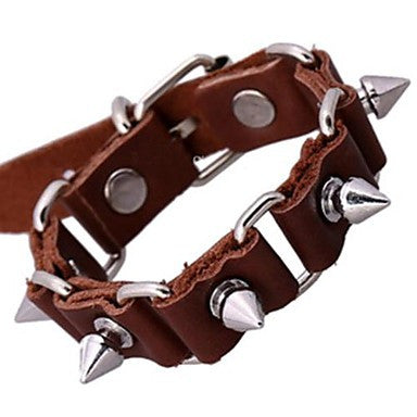 Lureme Vintage Alloy Rivet Inset Genuine Leather Linked Bracelet