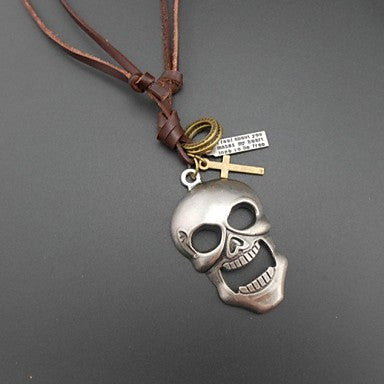 European Punk Skull Head Leather Pandant Necklace(1pc)