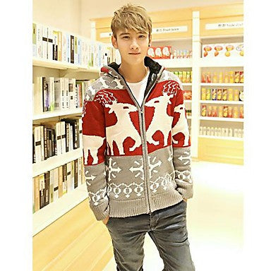 Men's Deer Print Contrast Color Coat