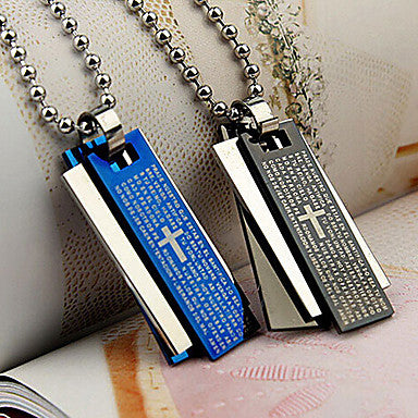 Fashion Square Shape Cross Bible Words Titanium Steel Pendants(Black,Blue) (1 Pc)