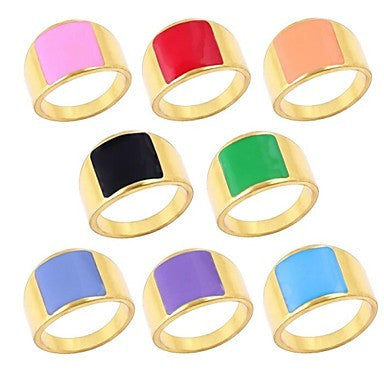 Square Candy Colored Rings(Random Colour)
