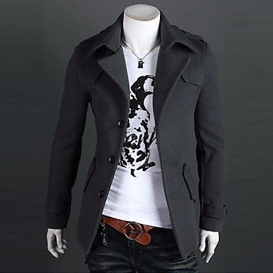 Men's Casual Wool Single Breasted Shoulder Padded Jacket