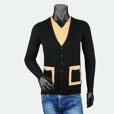 Men's V - Neck Fashion Traveling Long Sleeve Pullovers Contrast Color Slim Sweater