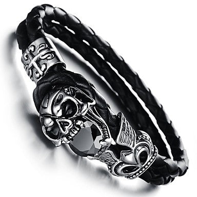 Retro Devil Skull Rock Men's Charm Stainless Steel Bracelet (1 Pc)