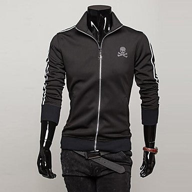 Men's Stand Collar Long Sleeve Zip Fleece Jacket
