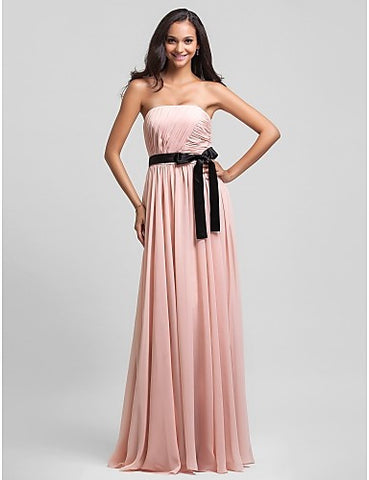 Bridesmaid Dress Floor Length Chiffon Sheath Column Strapless Dress With Sash Ribbon