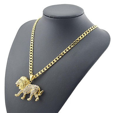 Figaro Chain 60cm Diamond lion Pendant Men Golden Gold Plated Chain Necklaces(4mm Width)