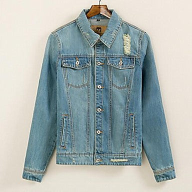 Men's New Winter Slim Patch Sanded Denim Jacket