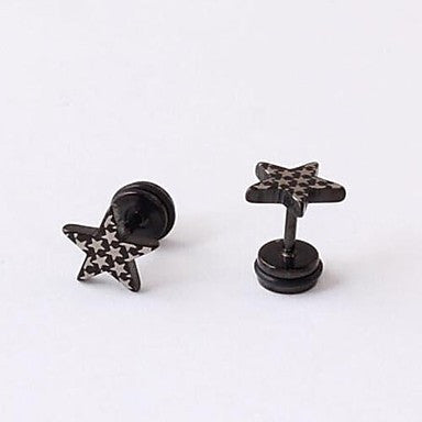 European Fash (Pentagram) Titanium Steel Stud Earrings(Black) (1 Pc)