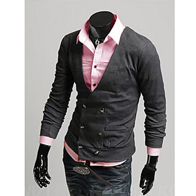 Men's Casual Slim Fit Double Breasts Stylish Woolen V Neck Cardigan
