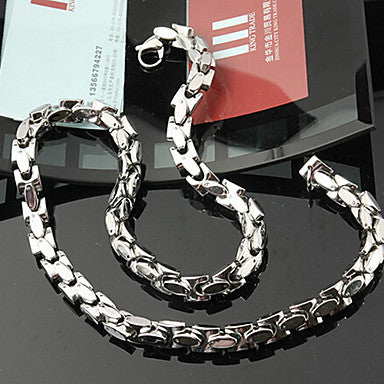 Fashion Super Thick Silver Titanium Steel Chain Necklace (1 Pc)