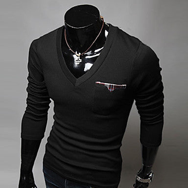 Men's Slim V-Neck Long Sleeve T-Shirt