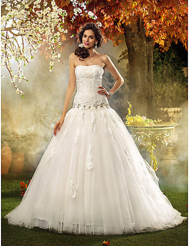 Fit and Flare Strapless Lace And Tulle Wedding Dress