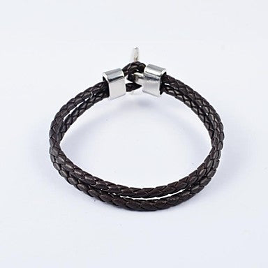 Fashion Men's Brown Weave Leather Bracelets