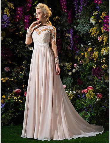 A-line/Princess Jewel Court Train Chiffon And Tulle Wedding Dress (2310067)
