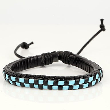 Comfortable Adjustable Men's Leather Hard Bracelet Mosaic Check Black Blue Braided Leather(1 Piece)