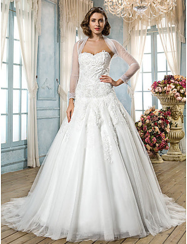 A-line Princess Sweetheart Sweep/Brush Train Tulle And Lace Wedding Dress With A Wrap