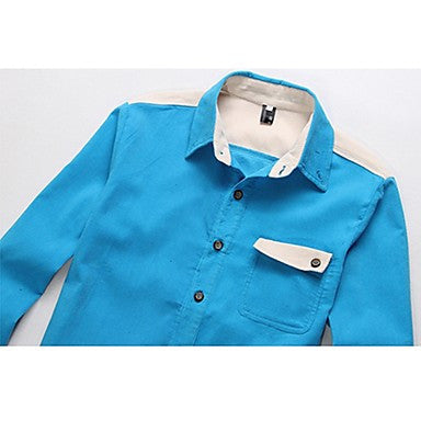 Men's Color Matching Long Sleeve Corduroy Shirt