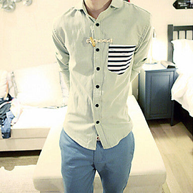 Men's Stripe Splicing Casual Shirt