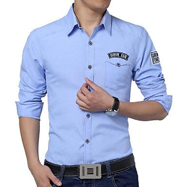 Men's Lapels Embroidered Logo Casual Shirt