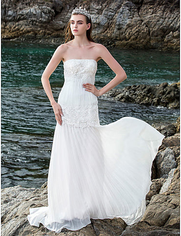Sheath/Column Strapless Chiffon And Lace And Stretch Satin Court Train Wedding Dresses