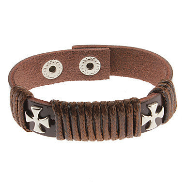 Solid Cross Brown Leather Bracelet