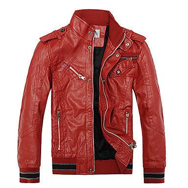 Men's Red and Warm Leather Jacke