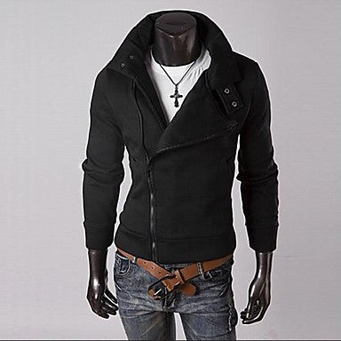 Men Stand Collar Multi-zipper Design Cardigan
