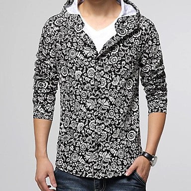 Men's Slim Casual Prints Long Sleeve Jacket Coat