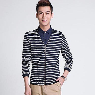 Men's Stand Collar Stripes Long Sleeve Kniwear Shirt