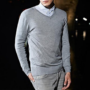 Men's V Neck Slim Long Sleeve Knitwear Sweater