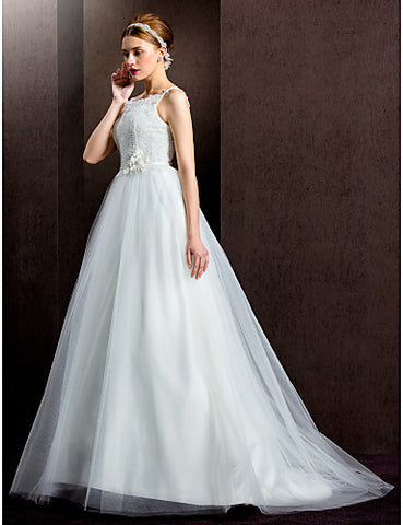 Ball Gown Spaghetti Straps Sweep/Brush Train Lace And Tulle Wedding Dress (1798933)