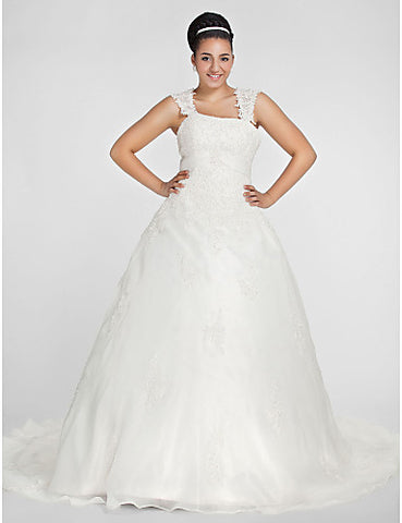 Ball Gown Square Chapel Train Organza Plus Size Wedding Dress