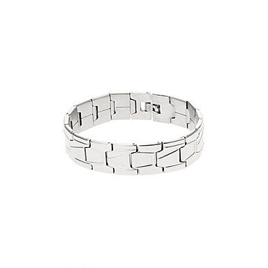 Classic Geometry Stripe 43cm Men's Silver Titanium Steel ID Bracelet(1 Pc)