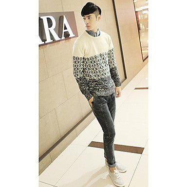 Men's Vintage Contrast Color Sweater