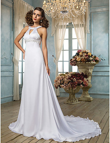 Sheath/Column Scoop Sweep/Brush Train Chiffon Wedding Dress (631197)