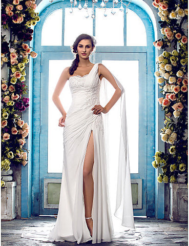 Wedding Dress Sheath Column Sweep Brush Train Chiffon One Shoulder With Beading Appliques and Split Front