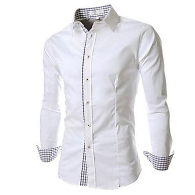 Men's Check Splicing Color Slim Long Sleeve Shirt A