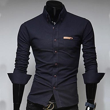 Men's Paste Leather Pocket Long Sleeve Shirt