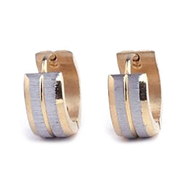 Men's Personality Gold Titanium Steel Drawbench Earrings