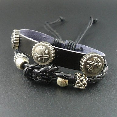 2015 New Fashion Punk Wrench Charms Men Genuine Leather Bracelet